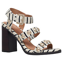 Buy KG by Kurt Geiger Nutty Studded Block Heeled Sandals, Beige Stripe Online at johnlewis.com