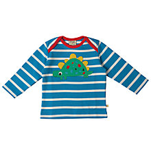 Buy Frugi Organic Baby Dinosaur Striped Top, Blue/Multi Online at johnlewis.com