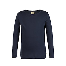 Buy Frugi Organic Girls' Pointelle Top, Navy Online at johnlewis.com