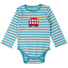 Buy Frugi Organic Baby Bus Lerryn Bodysuit, Blue/Multi Online at johnlewis.com