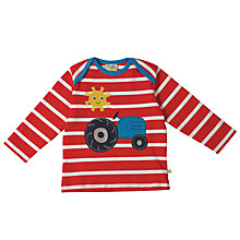 Buy Frugi Organic Baby Tractor Striped Top, Red Online at johnlewis.com