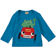 Buy Frugi Organic Baby Racing Frog Top, Blue Online at johnlewis.com