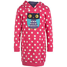 Buy Frugi Organic Girls' Harriet Owl Hooded Dress, Pink/Multi Online at johnlewis.com