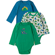 Buy Frugi Organic Baby Dino Bodysuit, Pack of 3, Assorted Online at johnlewis.com