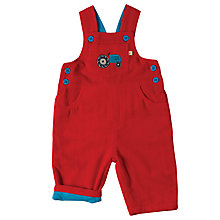 Buy Frugi Organic Baby Corduroy Tractor Dungaree, Red Online at johnlewis.com