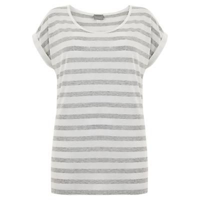 Hygge by Mint Velvet Stripe T-Shirt, Grey/Ivory