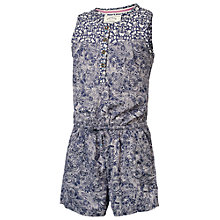 Buy Fat Face Girls' Doodle Mixed Print Playsuit, Light Navy Online at johnlewis.com