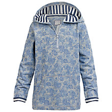 Buy Fat Face Girls' Floral Pull Over Hoodie, Grey/Blue Online at johnlewis.com