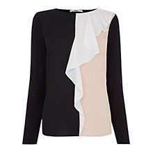 Buy Oasis Colour Block Ruffle Blouse, Multi Online at johnlewis.com