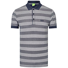 Buy BOSS Green Firenze Stripe Polo Shirt, Grey/Navy Online at johnlewis.com