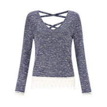 Buy Miss Selfridge Crochet Hem Top, Blue Online at johnlewis.com