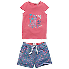 Buy Fat Face Girls' Rabbit Shortie Pyjamas, Coral/Blue Online at johnlewis.com
