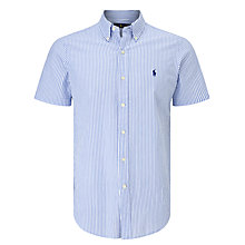 Buy Polo Ralph Lauren Stripe Sport Short Sleeve Shirt, Faded Blue/White Online at johnlewis.com