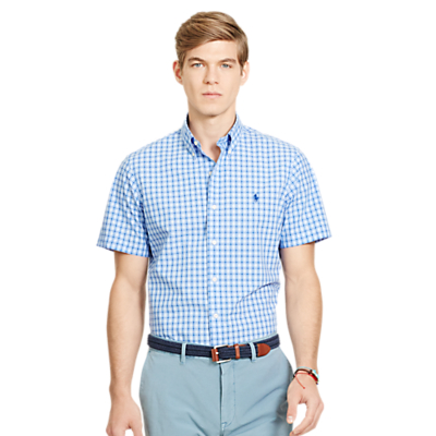 Image of Polo Ralph Lauren Short Sleeve Check Shirt, Blue/White