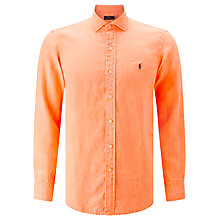 Buy Polo Ralph Lauren Long Sleeve Custom Fit Shirt, Sunrise Coral Online at johnlewis.com