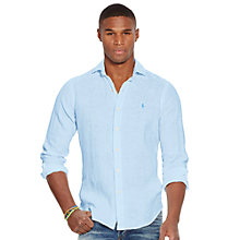 Buy Polo Ralph Lauren Custom Fit Spread Estate Pin Point Collar Long Sleeve Shirt, Chalet Blue Online at johnlewis.com