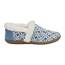Buy TOMS Children's Youth Slippers, Blue Fair Isle Online at johnlewis.com