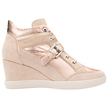 Buy Geox Eleni Wedge Heeled Trainers, Rose Gold/Nude Online at johnlewis.com