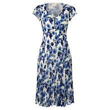 Buy East Pleated Watercolour Dress, Blue Online at johnlewis.com