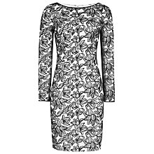 Buy Reiss Celia Lace Bodycon Dress, Black/Off White Online at johnlewis.com
