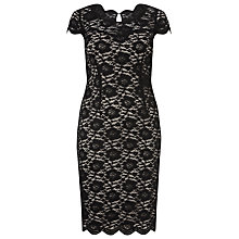 Buy Windsmoor Lace Scallop Trim Shift Dress, Black Online at johnlewis.com