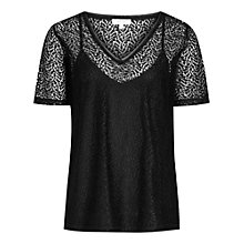 Buy Reiss Everly Lace T-Shirt, Black Online at johnlewis.com
