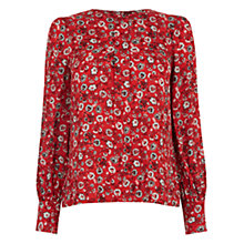 Buy Warehouse Floral Button Back Blouse, Red Pattern Online at johnlewis.com