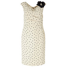 Buy Jacques Vert Petite Wrap Front Spot Dress, Light Neutral Online at johnlewis.com