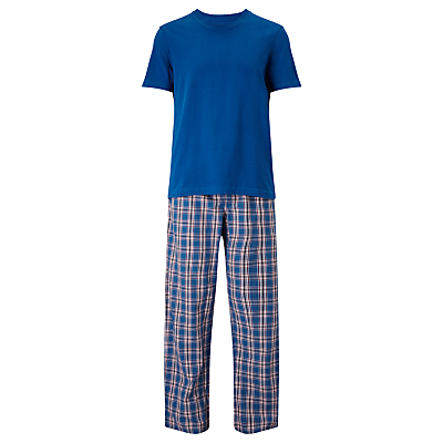 John Lewis Check Trousers and T-Shirt Lounge Set, Blue/Red