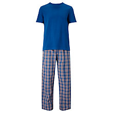 Buy John Lewis Check Trousers and T-Shirt Lounge Set, Blue/Red Online at johnlewis.com