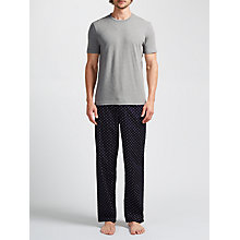 Buy John Lewis Circle Print Trousers and T-Shirt Lounge Set, Navy/Grey Online at johnlewis.com