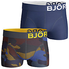 Buy Bjorn Borg Camo Print and Plain Trunks, Pack of 2, Blue Online at johnlewis.com