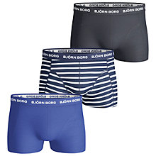 Buy Bjorn Borg Noos Stripe Plain Trunks, Pack of 3 Online at johnlewis.com