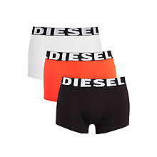 Buy Diesel Shawn Plain Trunks, Pack of 3, Black/White/Red Online at johnlewis.com