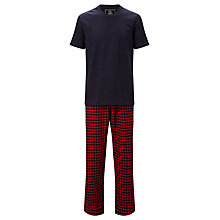 Buy John Lewis Honiton Check Trousers and T-Shirt Lounge Set, Navy/Red Online at johnlewis.com