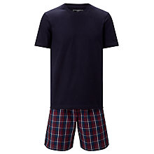 Buy John Lewis Guildford T-Shirt and Check Shorts Lounge Set, Navy/Red Online at johnlewis.com