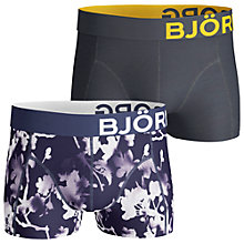 Buy Bjorn Borg Blossom Print and Plain Trunks, Pack of 2, Blue Online at johnlewis.com