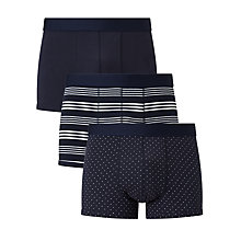 Buy John Lewis Solid/Triangle/Stripe Trunks, Pack of 3, Navy Online at johnlewis.com