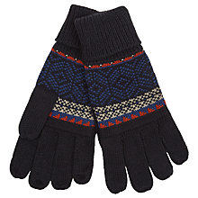 Buy John Lewis Knitted Fair Isle Gloves, Navy Online at johnlewis.com