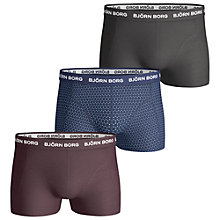 Buy Bjorn Borg Dot Solid Trunks, Pack of 3, Burgundy/Blue/Grey Online at johnlewis.com