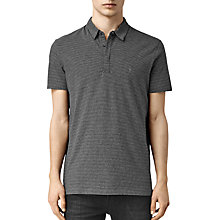 Buy AllSaints Anic Stripe Polo Shirt, Charcoal/Black Online at johnlewis.com