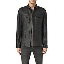 Buy AllSaints Dangan Leather Shirt Jacket, Black Online at johnlewis.com