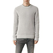 Buy AllSaints Kargg Waffle Knit Jumper, Light Grey Marl Online at johnlewis.com