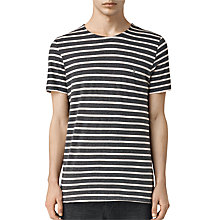 Buy AllSaints Maul Tonic Stripe T-Shirt, Charcoal Marl/Ecru White Online at johnlewis.com