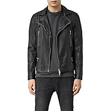 Buy AllSaints Rowley Leather Biker Jacket, Black Online at johnlewis.com