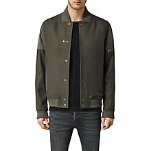 Buy AllSaints Mission Bomber Jacket, Khaki Green Online at johnlewis.com