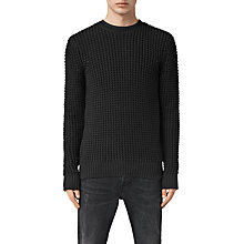 Buy AllSaints Rok Waffle Knit Jumper, Black Online at johnlewis.com
