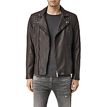 Buy AllSaints Rowley Leather Biker Jacket, Bitter Brown Online at johnlewis.com