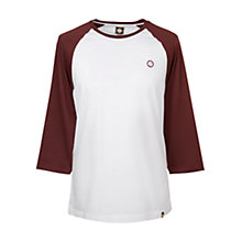 Buy Pretty Green Elham Raglan T-Shirt, White/Burgundy Online at johnlewis.com