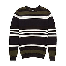 Buy Reiss Ketlett Textured Stripe Jumper, Navy Online at johnlewis.com
